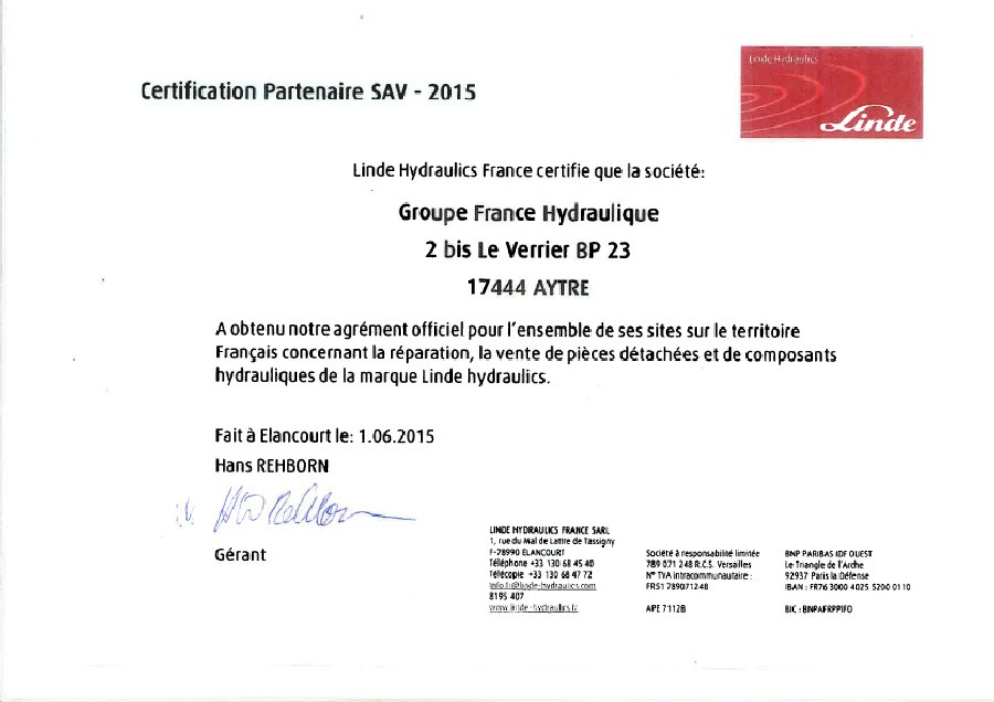 Certification Linde