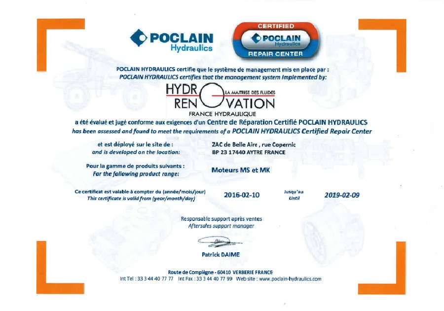 Certification Poclain Hydraulics